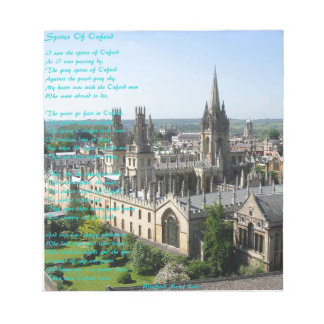 Spires of Oxford poem by: Winifried Mabel Letts Notepad