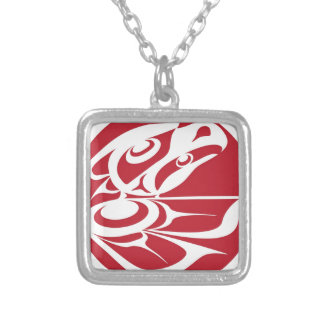 Spirit Eagle White on Red.jpg Personalized Necklace