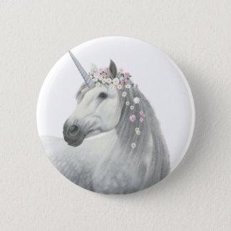 Spirit Unicorn with Flowers in Mane 6 Cm Round Badge