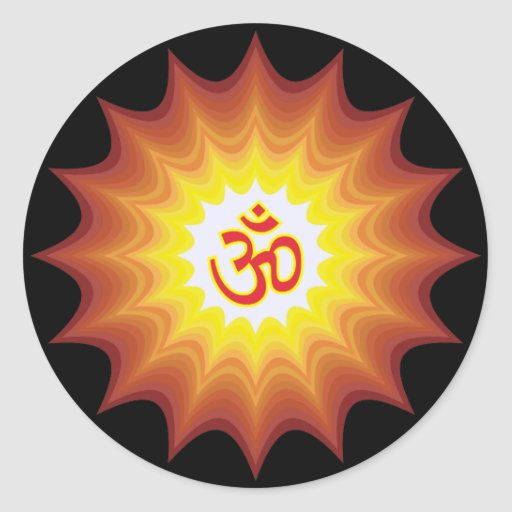 Spiritual Om Design Round Stickers
