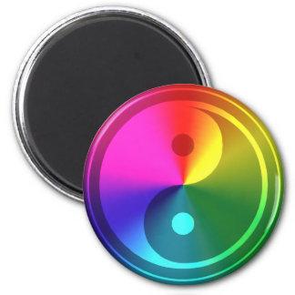 Spiritual Yin Yang - Rainbow Design 6 Cm Round Magnet