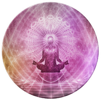 Spiritual Yoga Meditation Zen Colorful Plate