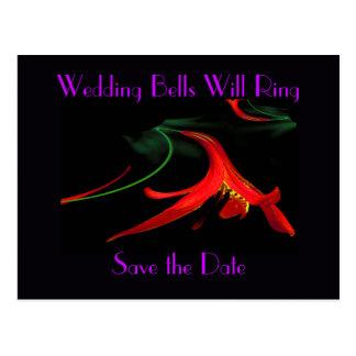 Splash of Red Lily Floral Fractal Design in Purple Postcard