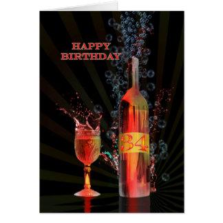 Splashing wine 34th birthday card