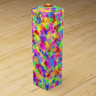 Splatter Paint Rainbow of Bright Color Background Wine Box