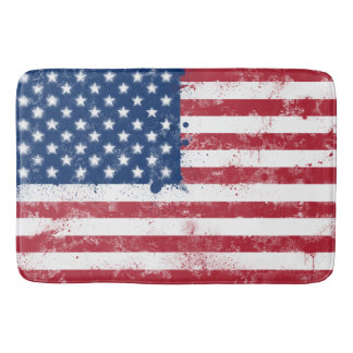 Splatter Painted USA Flag Bath Mat