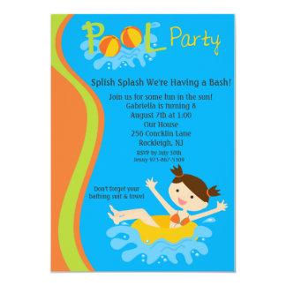 Splish Splash Girls Pool Party Birthday Invite