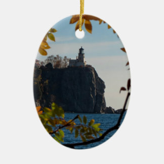 Split Rock Lighthouse in the Fall Christmas Ornament
