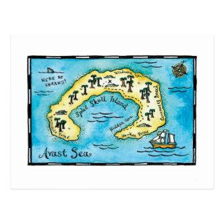 Split Skull Island Treasure Map Postcard