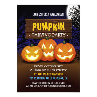 Spooktacular Pumpkin Carving Halloween Party 13 Cm X 18 Cm Invitation Card