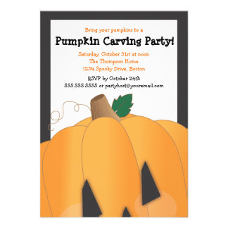 Spooky Cute Pumpkin Carving Halloween Party Invitations