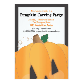 "Spooky Cute Pumpkin Carving Halloween Party 5"" X 7"" Invitation Card"