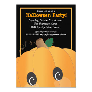 Spooky Cute Pumpkin Head Halloween Party 13 Cm X 18 Cm Invitation Card