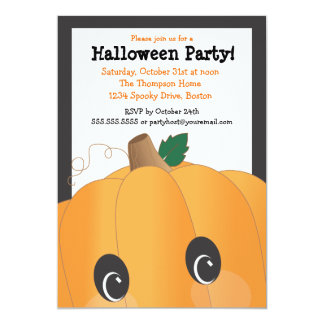 Spooky Cute Pumpkin Head Halloween Party 13 Cm X 18 Cm Invitation Card