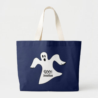 Spooky Halloween White Ghost Saying BOO! Large Tote Bag