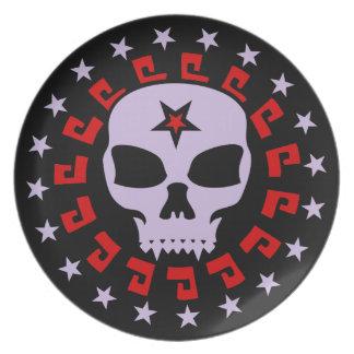 Spooky Vampire Skull with Pentagram and Stars Dinner Plate