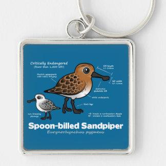 Spoon-billed Sandpiper Statistics Silver-Colored Square Key Ring