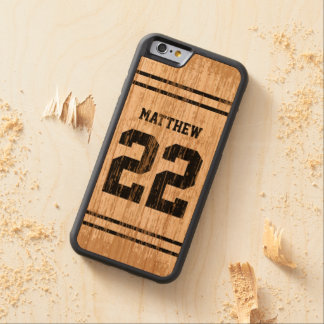 Sport Jersey Number Wood iPhone 6 Carved Cherry iPhone 6 Bumper Case