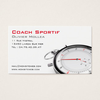 Sporting coach, calling card or trainer