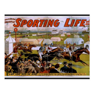 Sporting Life, 'Lady Luck Wins the Derby' Vintage Post Card