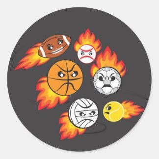 Sports Balls on Fire Classic Round Sticker