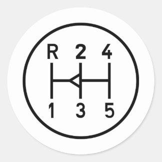 Sports car gear knob, transmission shift pattern classic round sticker