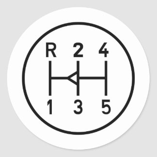 Sports car gear knob, transmission shift pattern round sticker
