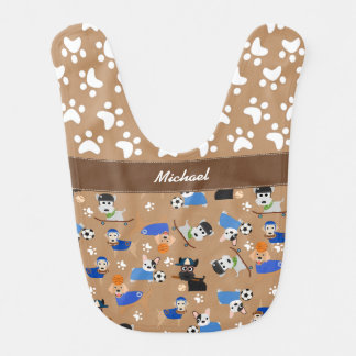 Sports Dogs with Paw Prints Bib
