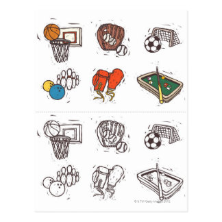 Sports equipment displayed against white postcard