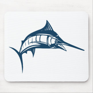Sports Fishing Blue Swordfish Jumping Mouse Pad