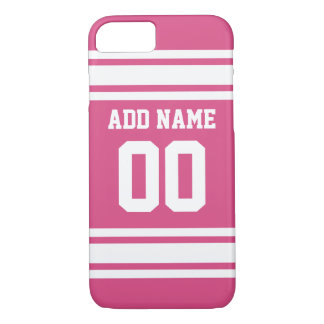 Sports Jersey with Name and Number - Pink White iPhone 8/7 Case