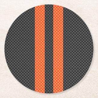 Sporty Accent Orange Stripes Carbon Style Print Round Paper Coaster