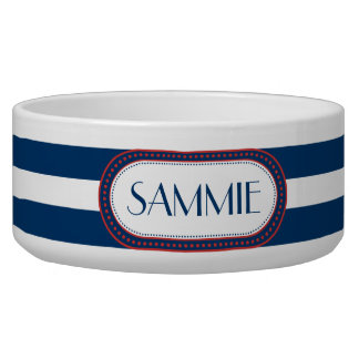 Sporty Blue | White Stripes Pattern Monogram Pet Food Bowl