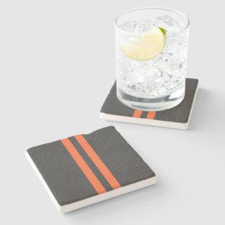 Sporty Orange Stripes Carbon Fiber Style Decor Stone Coaster