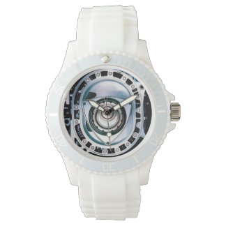 Sporty Rotary Engine Watch, White Silicone Strap Watch