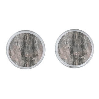 Spotted Grey Tones Marble Stone Silver Finish Cufflinks
