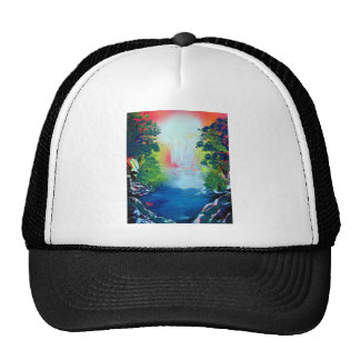 Spray Paint Art Forest Waterfall Sunset Painting Cap