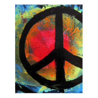 Spray Paint Art Rainbow Peace Sign Painting Postcard