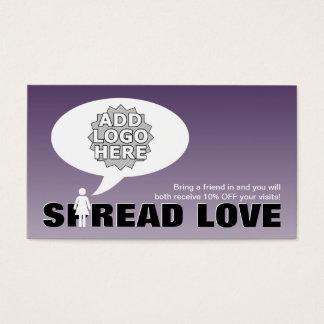 spread love refer a friend stick figure business card