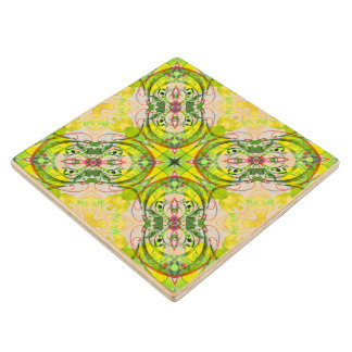 Spring Abstract in Green & Yellow Wood Coaster