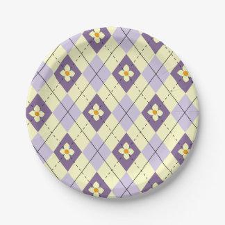 Spring Argyle Paper Plate