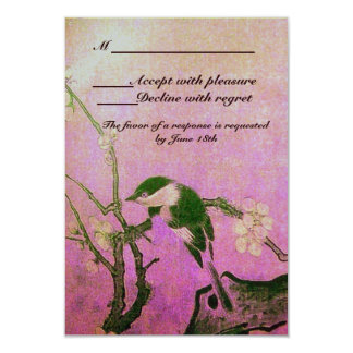 SPRING BIRD MONOGRAM Pink Fuchsia White Brown 9 Cm X 13 Cm Invitation Card