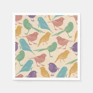 Spring Bird Pattern in Blue, Green, Purple, Orange Disposable Napkins