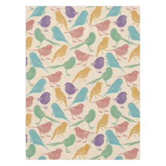 Spring Bird Pattern in Blue, Green, Purple, Orange Tablecloth