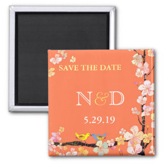 Spring Birds Orange Monogram Save the Date Square Magnet