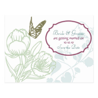 Spring Bliss (Peony) Wedding Save the Date Postcard