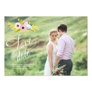 SPRING BLOOM PAINTED FLORAL Save the Date Card 13 Cm X 18 Cm Invitation Card