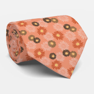 Spring Blooms Daisy Floral Orange Two-sided Tie