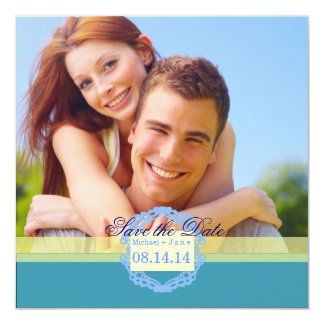 Spring blue save the date card