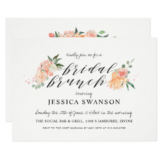 Spring Blush Peach Watercolor Floral Bridal Brunch Card
